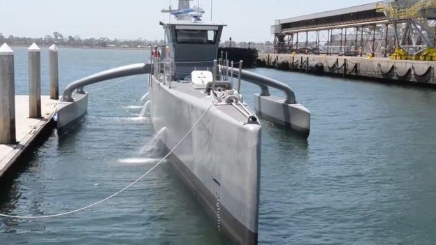 Sea Hunter ship in dock