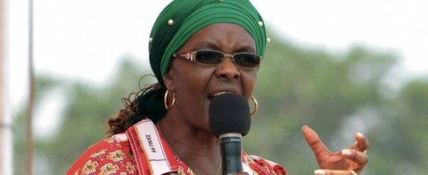 Grace Mugabe addressing her maiden political rally in Chinhoyi October 2, 2014