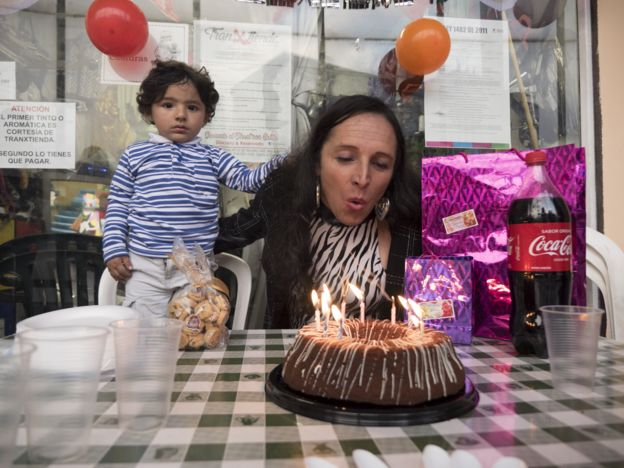 Derly Linares celebrating her birthday with her son
