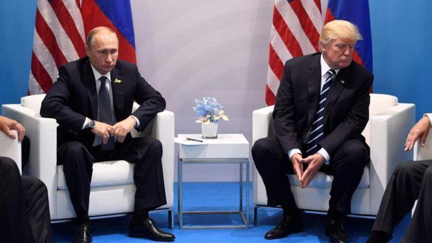 US President Donald Trump and Russia's President Vladimir Putin - July 2017