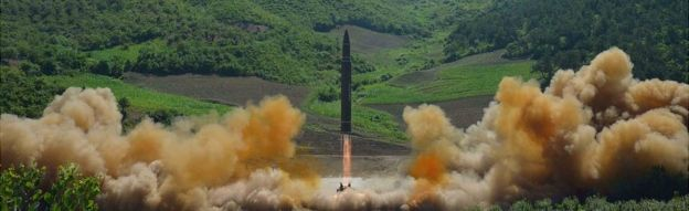 The intercontinental ballistic missile Hwasong-14 is seen during its test launch in this undated photo released by North Korea