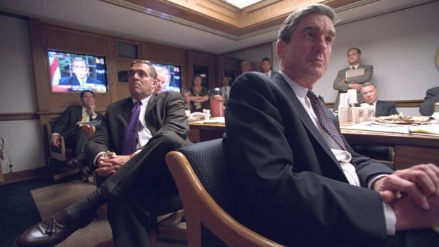 Then-CIA director George Tenant and FBI director Robert Mueller in the White House security area on 9/11