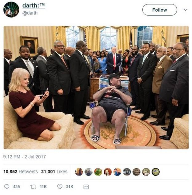 A tweet showing Chris Christie's deckchair edited into a picture of the Oval Office, featuring President Trump, several heads of historically black colleges, and Kellyanne Conway with her feet on the sofa