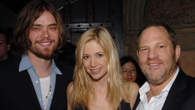 Chris Backus, Mira Sorvino y Harvey Weinstein