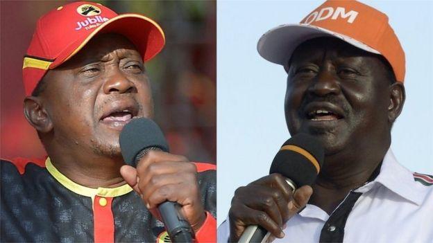 Uhuru Kenyatta kushoto) na Mpinzani wake Raila Odinga (kulia)