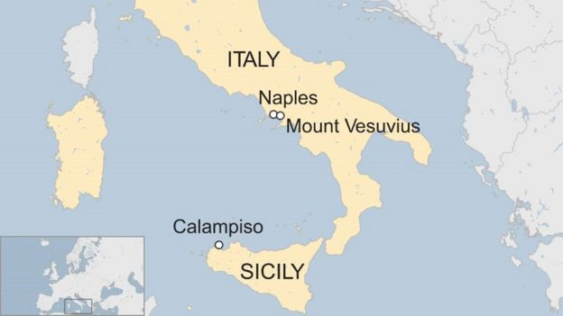 Italy Wildfires Tourists Rescued By Boat From Calampiso BBC News - Mount vesuvius map
