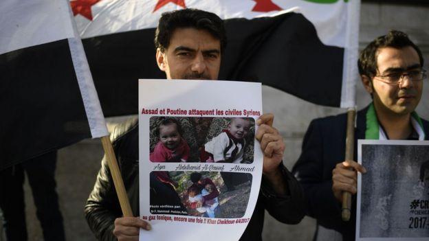 Protesta contra armas químicas en Siria.