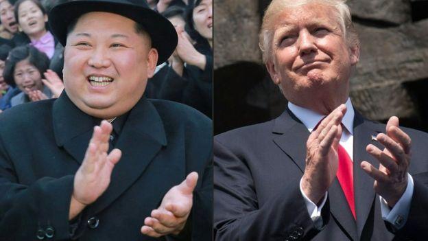 Kim Jong-un y Donald Trump en dos fotos separadas