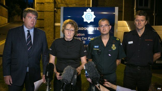 Supt Jane Derrick (second left) was joined at a press conference by Nick Bunting from the Royal Air Forces Association, Mark Bailey from South East Coast Ambulance Service and Gavin Watts from West Sussex Fire and Rescue Service