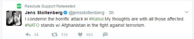 Jens Stoltenberg tweet - I condemn the horrific attack in Kabul. My thoughts are with all those affected. Nato stands w/ Afghanistan in the fight against terrorism