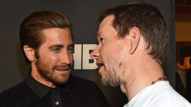 Jake Gyllenhaal with Mark Wahlberg in 2015