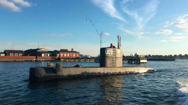 Private submarine UC3 Nautilus in Copenhagen Harbor,