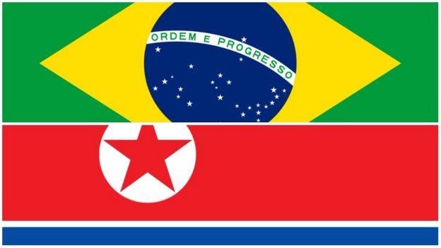 Bandeiras do Brasil e da Coreia do Norte