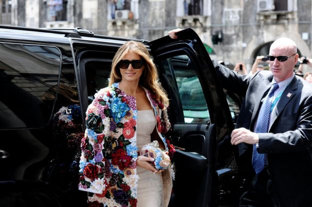 Melania Trump arrives in the Sicilian town of Catania, Italy, 26 May