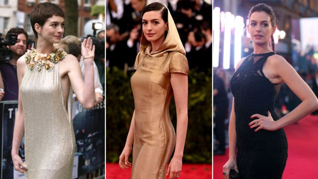 Anne Hathaway en 2012, 2015 y 2018
