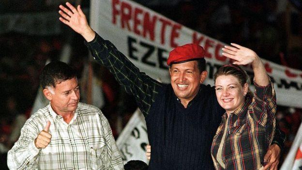 Francisco Arias Cárdenas, Hugo Chávez y Marisabel Rodríguez.