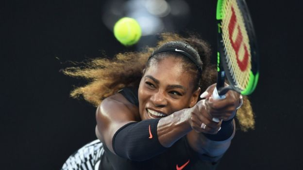 January 28, 2017: Serena Williams of the US hitting a return against Venus Williams of the US during the women's singles final on day 13 of the Australian Open tennis tournament in Melbourne