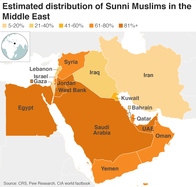 Map showing Sunni distribution in Middle East