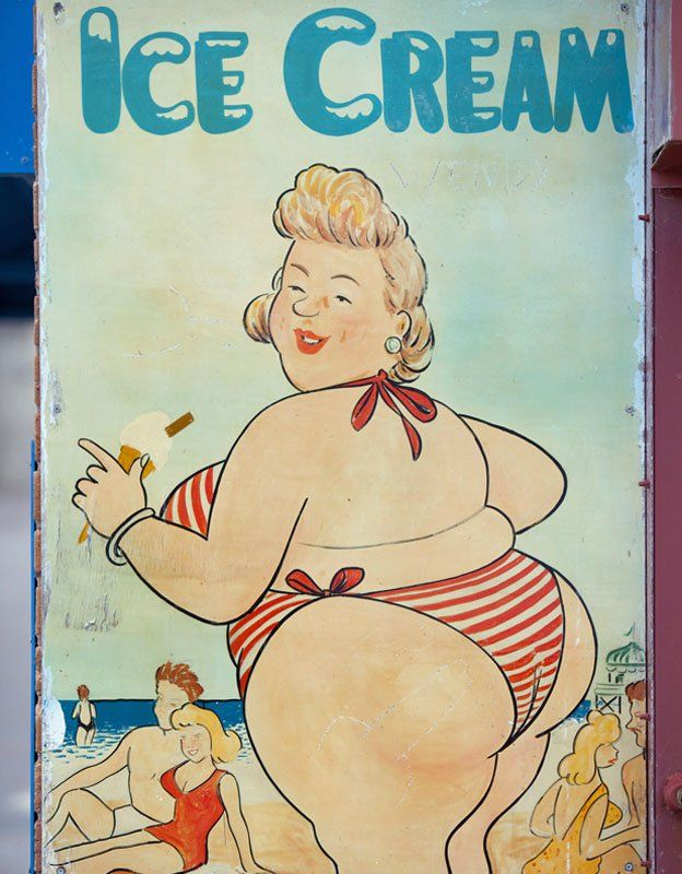 Poster with lady eating ice cream on the beach