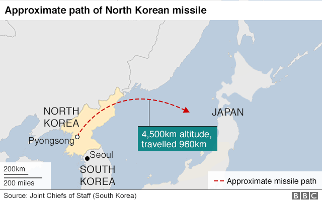 Map of North Korean missile fired on 29 November 2017