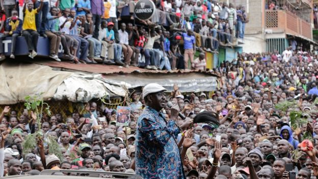 Kenyan opposition leader Raila Odinga addresses thousands of his supporters