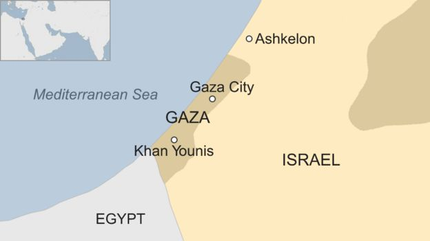 Map showing Gaza and Israel