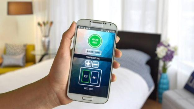 Imagem do aplicativo de celular no qual se ajusta a temperatura do cobertor