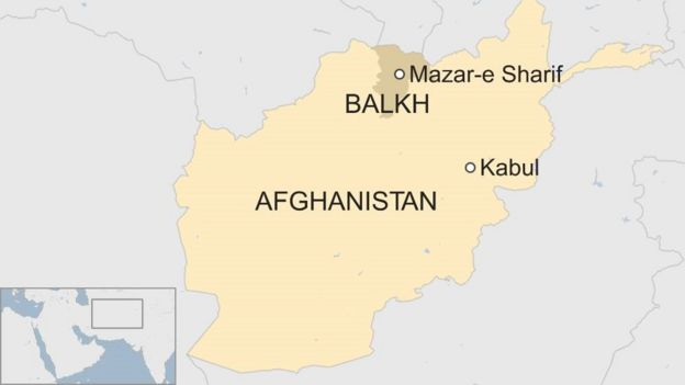 A map showing where Mazar-e Sharif is in Afghanistan