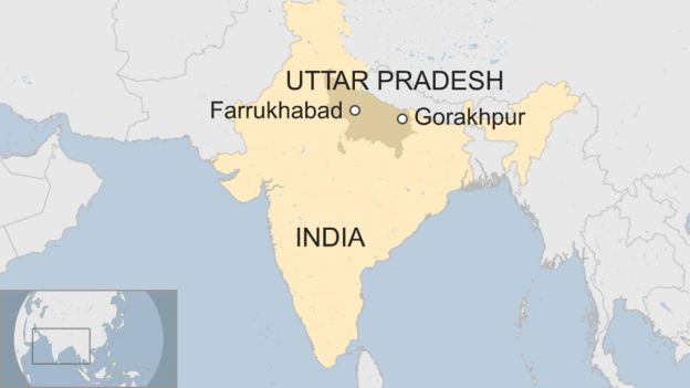 A map showing Farrukhabad and Gorakhpur within the state of Uttar Pradesh in India