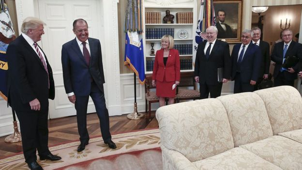 US President Donald Trump with Russian Foreign Minister Sergei Lavrov and other officials. 10 May 2017