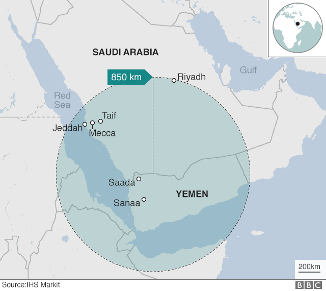 Map showing distance between rebel-held Yemen and Riyadh