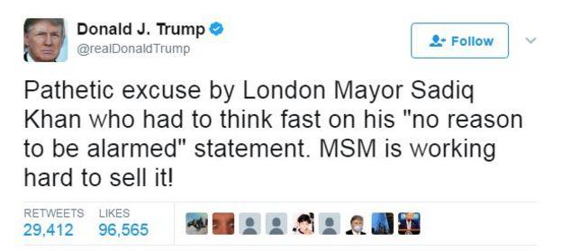 Tweet by Donald Trump: