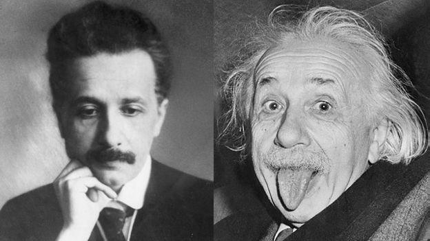 Duas fotos mostram Albert Einstein em momentos diferentes da vida