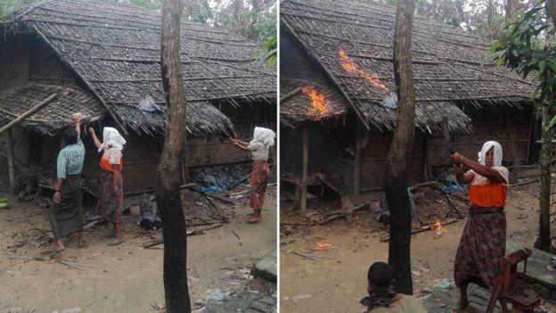 Jurnalis diberikan foto-foto yang seakan 'menangkap' orang-orang Muslim sedang membakar rumah mereka sendiri/BBC / HANDOUT.