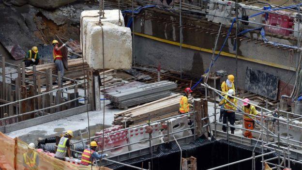 資料圖片:2014年的廣深港高速鐵路香港段西九龍總站工地