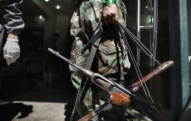 Syrian Rebel with AK-47 rifles