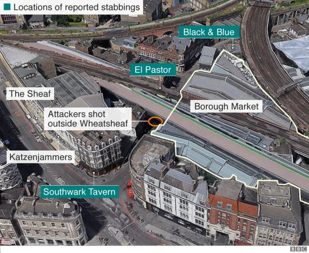 Locations around Borough Market involved in the attack