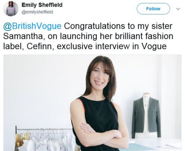 Emily Sheffield's tweet: Congratulations to my sister Samantha, on launching her brilliant fashion label, Cefinn, exclusive interview in Vogue