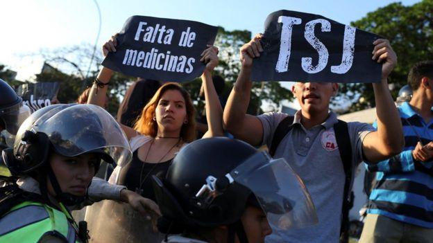 Protesta callejera en Caracas.