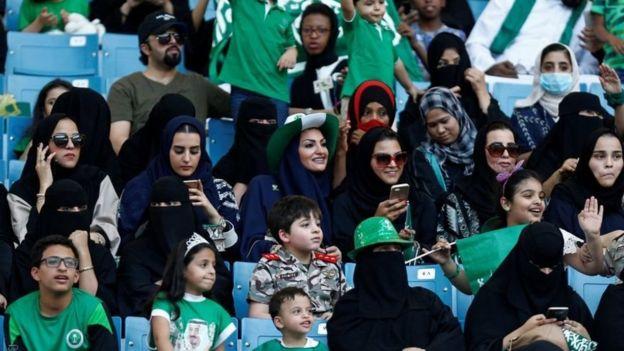 Women in a stadium in Riyadh.