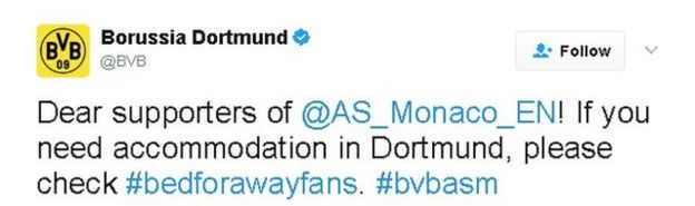 Tweet by Borussia Dortmund: Dear supporters of @AS_Monaco_EN! If you need accommodation in Dortmund, please check #bedforawayfans. #bvbasm