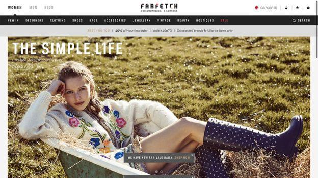 Farfetch's home page