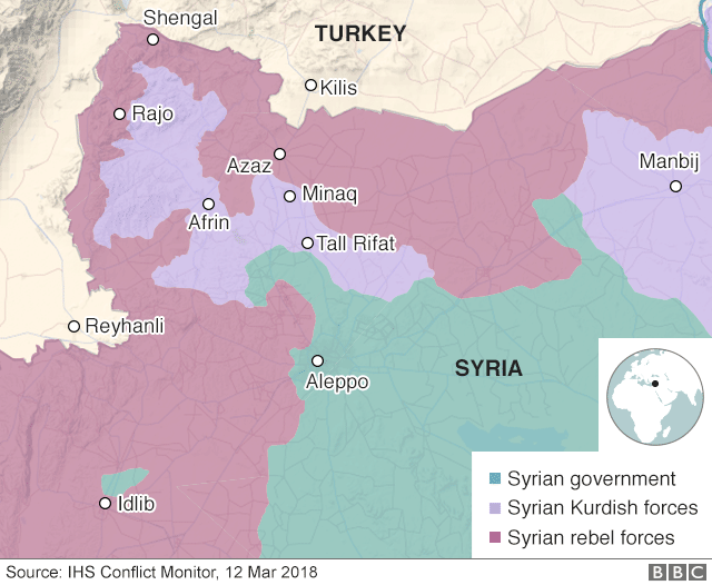 Map showing control of Afrin on 12 March 2018
