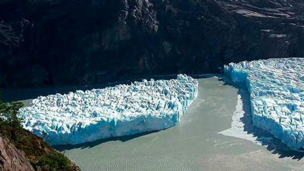 Imagem mostra o iceberg nas proximidades da geleira Grey