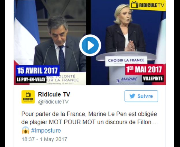 Discursos de Fillon y Le Pen presentados por Ridicule TV