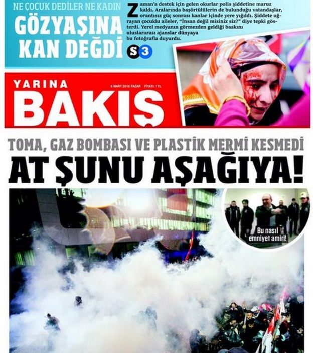 First front page of new Turkish newspaper Yarina Bakis - 6 March 2016