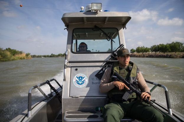 The border, including the Rio Grande River, are policed by US Border Patrol
