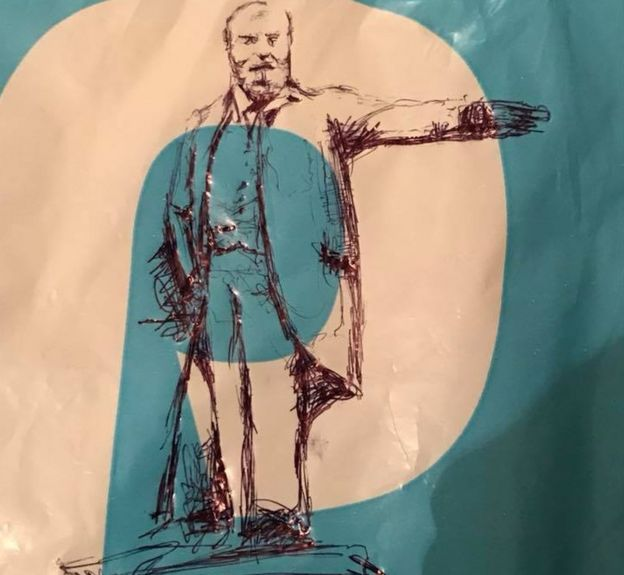Image drawn by Bagsy on a carrier bag