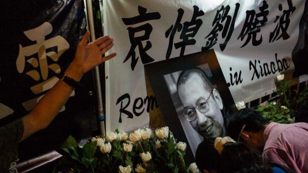 香港民眾哀悼劉曉波