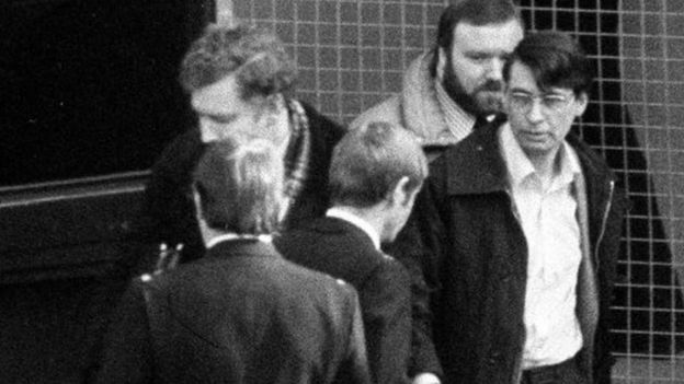 Dennis Nilsen (wearing glasses) leaving Highgate Magistrates Court in 1983